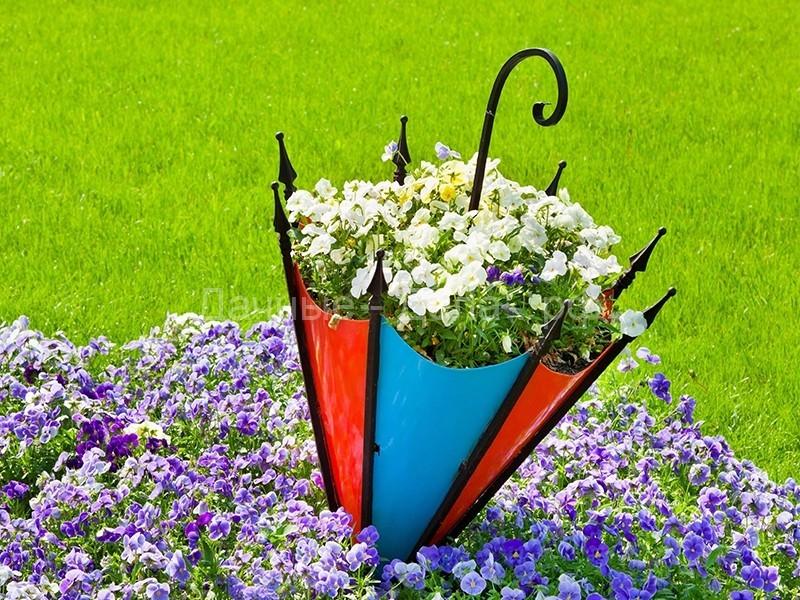 Клумба из зонтика своими руками – незатейливый и привлекательный декор на даче
