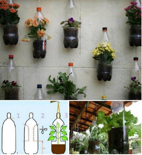 Горшочки для цветов из пластиковых бутылок