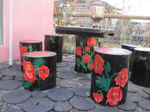 Как во дворе украсить пенек